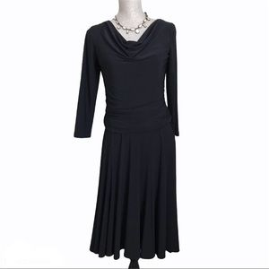 Chaps Ruched Jersey Swing Fit and Flare Dress